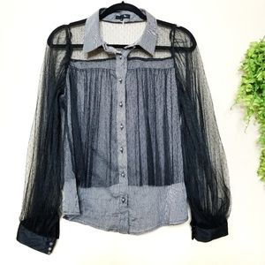 Ryu | Sheer Mesh Overlay Gray Button Down Blouse